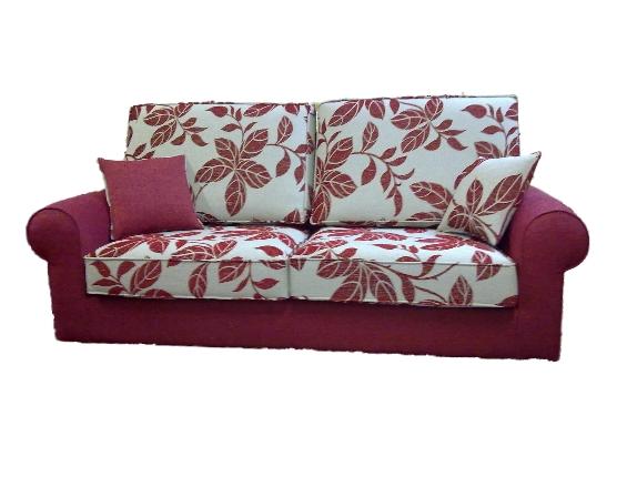 Sofá dos plazas combinación de tejidos