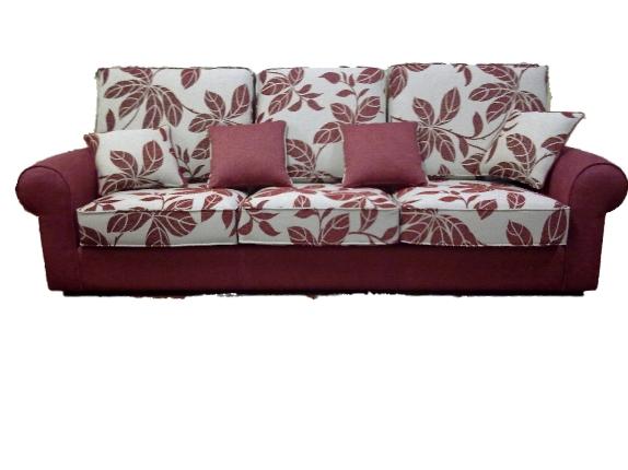 Sofá tres plazas combinación de tejidos
