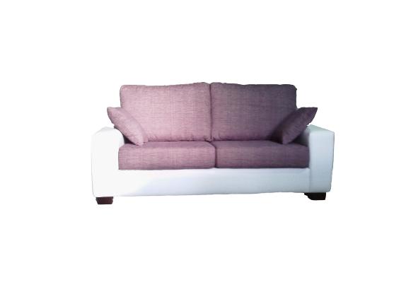 Sofá dos plazas con tapicería combinada en dos tejidos.